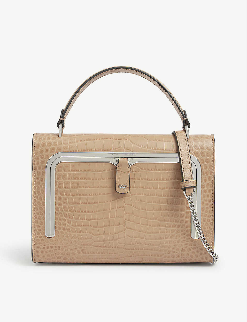 ANYA HINDMARCH: Croc-embossed small leather postbox bag