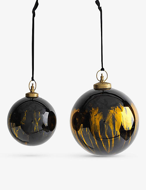CHRISTMAS: Nkuku Danoa Giant recycled glass round bauble 18cm