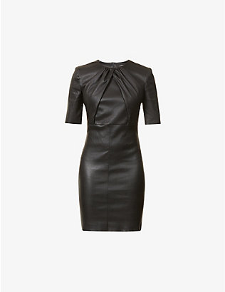 JITROIS: Justine leather mini dress