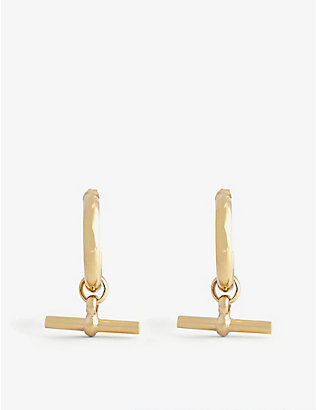 TILLY SVEAAS LTD: T-bar large gold-plated sterling silver hoop earrings
