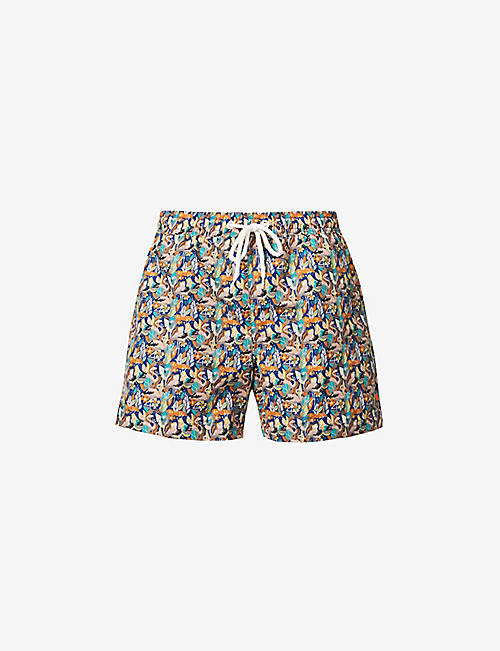 FAR AFIELD: Graphic-print recycled-plastic swim shorts