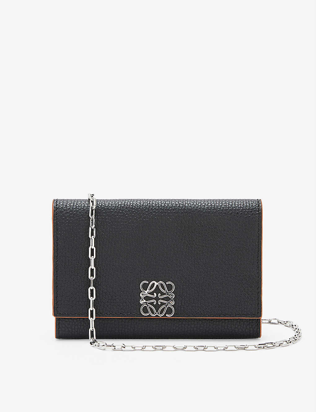 LOEWE: Anagram-embellished grained-leather wallet-on-chain