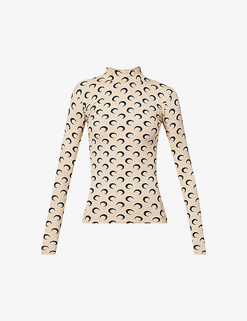 MARINE SERRE: Moon-print fitted turtleneck stretch-jersey top