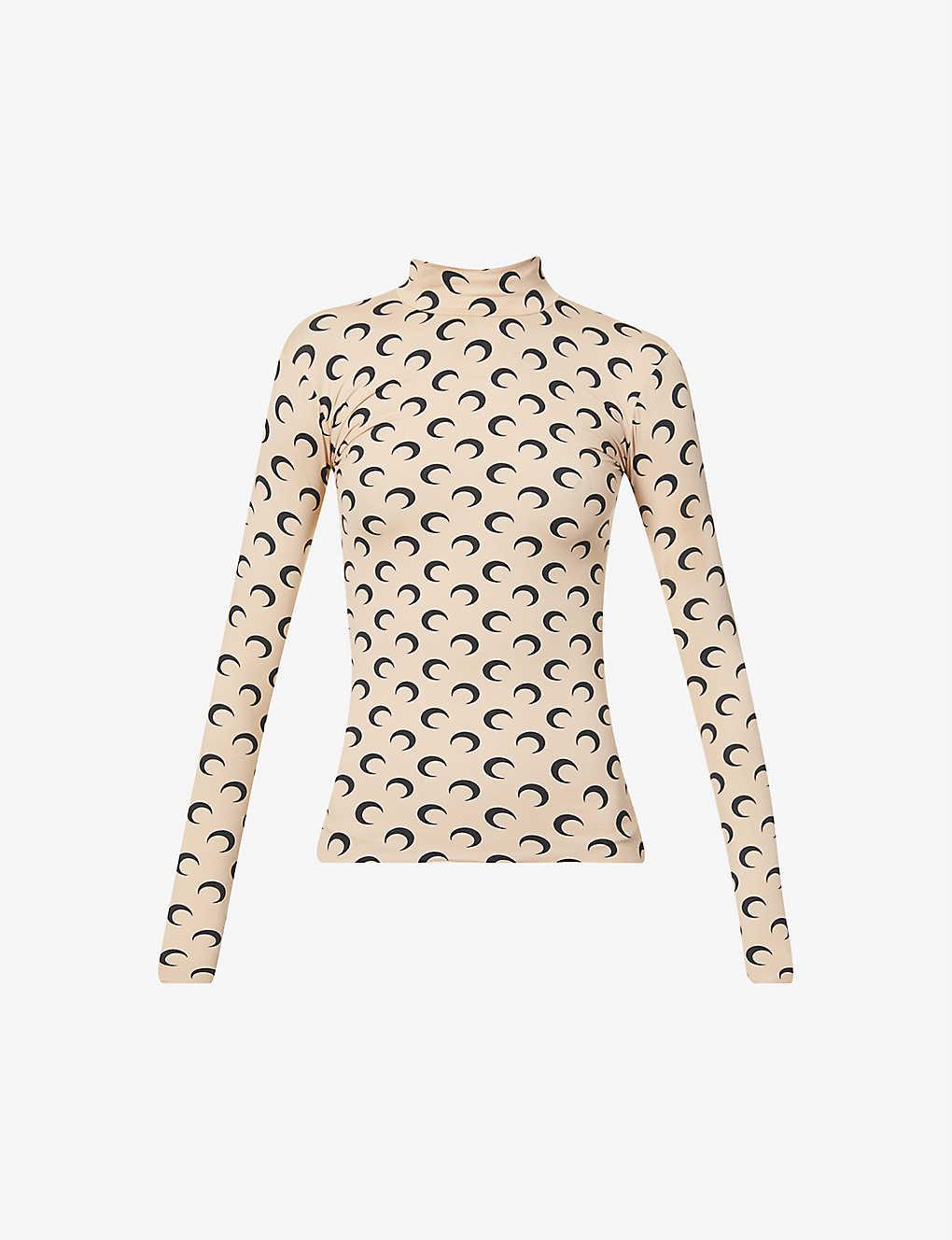 MARINE SERRE Moon-print fitted turtleneck stretch-jersey top