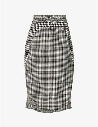 MARINE SERRE: Houndstooth-pattern high-waist wool midi skirt