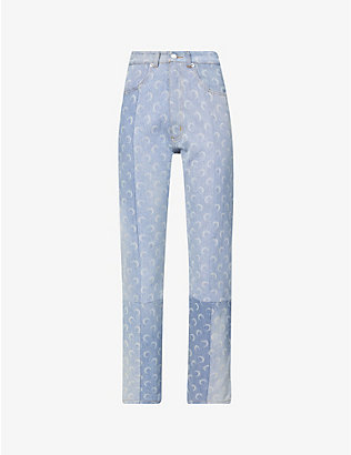 MARINE SERRE: Moon-print straight-leg high-rise recycled denim jeans