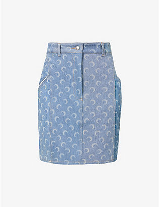 MARINE SERRE: Moon-print recycled denim mini skirt