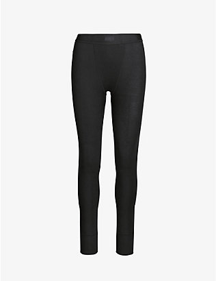 SKIMS: Ribbed high-rise stretch-cotton leggings