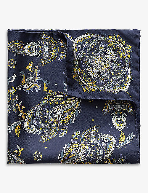 ETON: Paisley-print silk pocket square