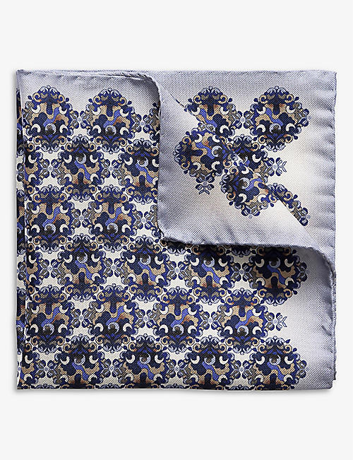 ETON: Medallion-print silk pocket square