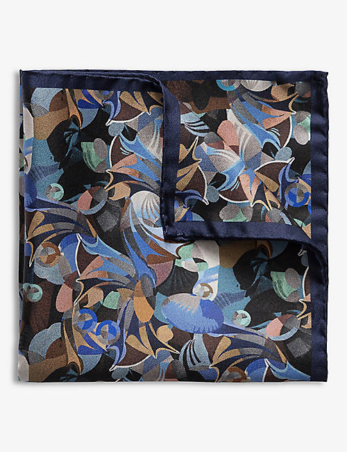 ETON: Abstract-print silk pocket square