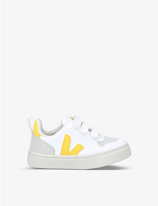 VEJA: V10 branded C.W.L., coated canvas and vegan suede trainers 2-5 years