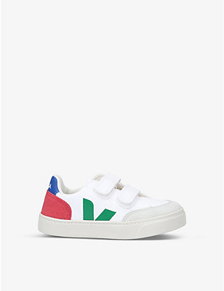 VEJA: V12 branded ChromeFree leather trainers 6-9 years