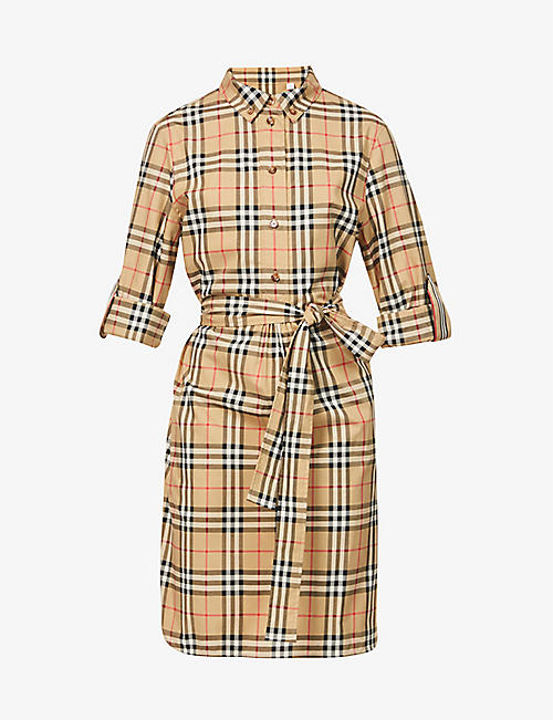 BURBERRY: Giovanna checked stretch-cotton mini dress