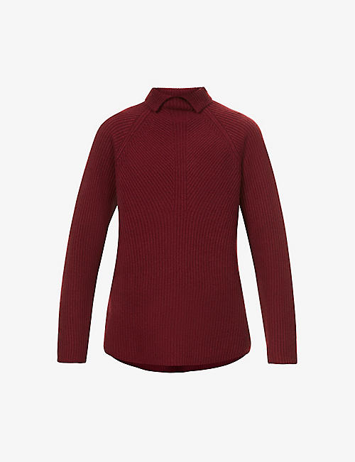 THEORY: Karenia notched turtleneck ribbed cashmere jumper