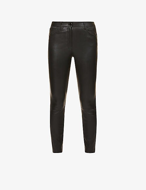 THEORY: Bristol skinny mid-rise leather trousers