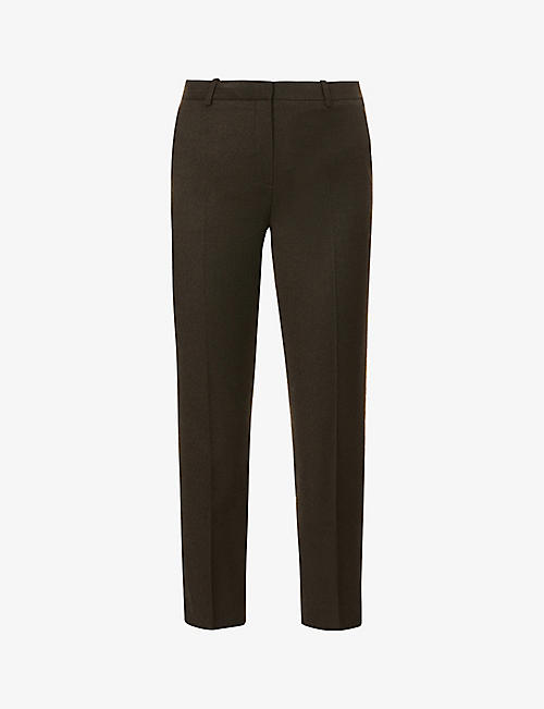 THEORY: Treeca cropped slim-leg mid-rise wool trousers