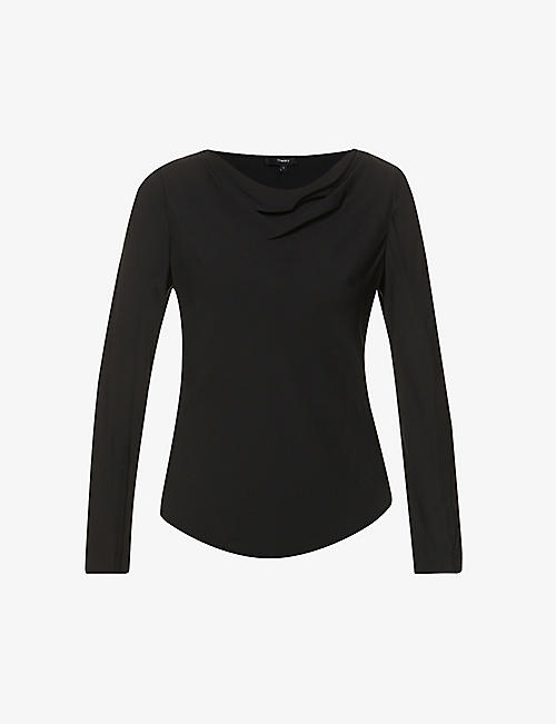 THEORY: Cowl-neck relaxed-fit silk top