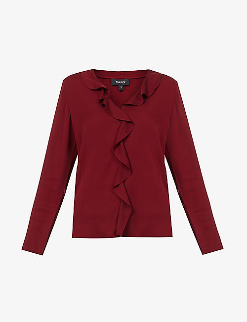 THEORY: Ruffle-front stretch-silk blouse