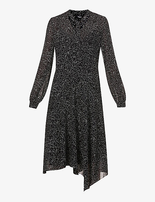 THEORY: Patterned silk-crepe midi dress