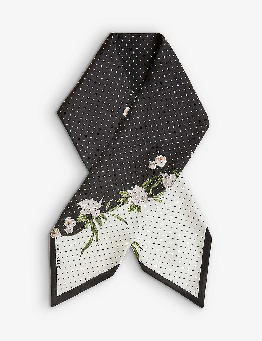 TED BAKER: Elderflower floral-print woven scarf