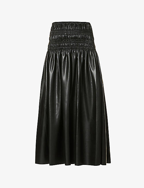 SELF-PORTRAIT: High-waisted faux-leather midi skirt