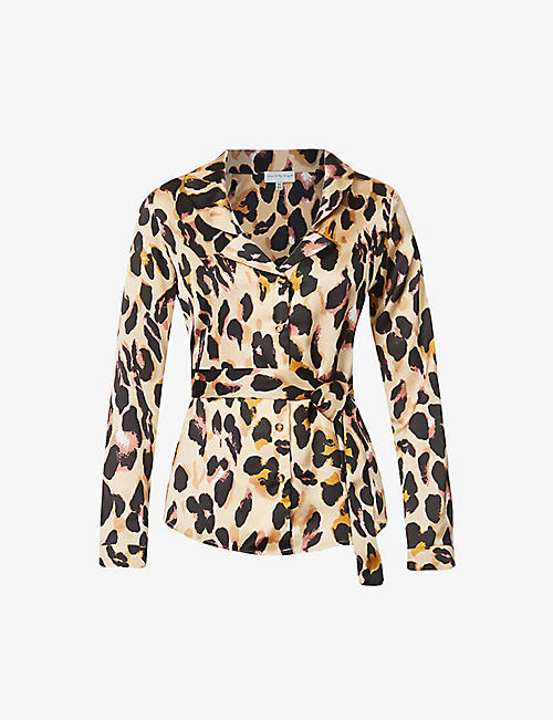 NEVER FULLY DRESSED: Chester leopard print satin-crepe shirt