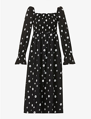 NEVER FULLY DRESSED: Stitch cross cotton midi dress