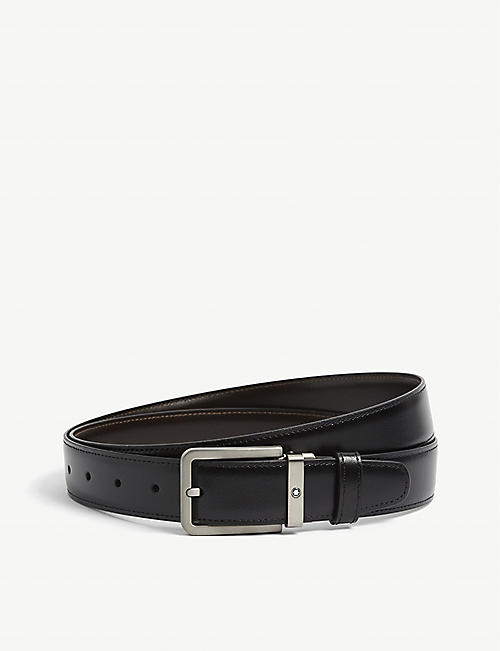 MONTBLANC: Rectangle-buckle titanium and leather belt
