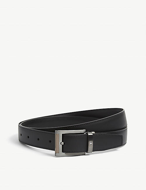 MONTBLANC: Two-tone buckle leather belt