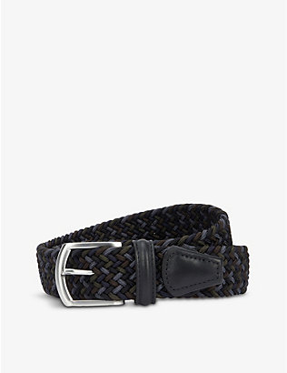 ANDERSONS: Woven stretch-elastic and leather belt