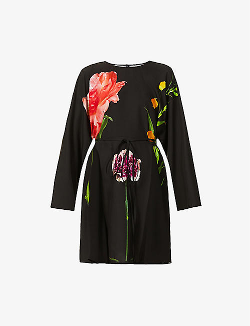 VALENTINO: Floral-print silk-crepe mini dress