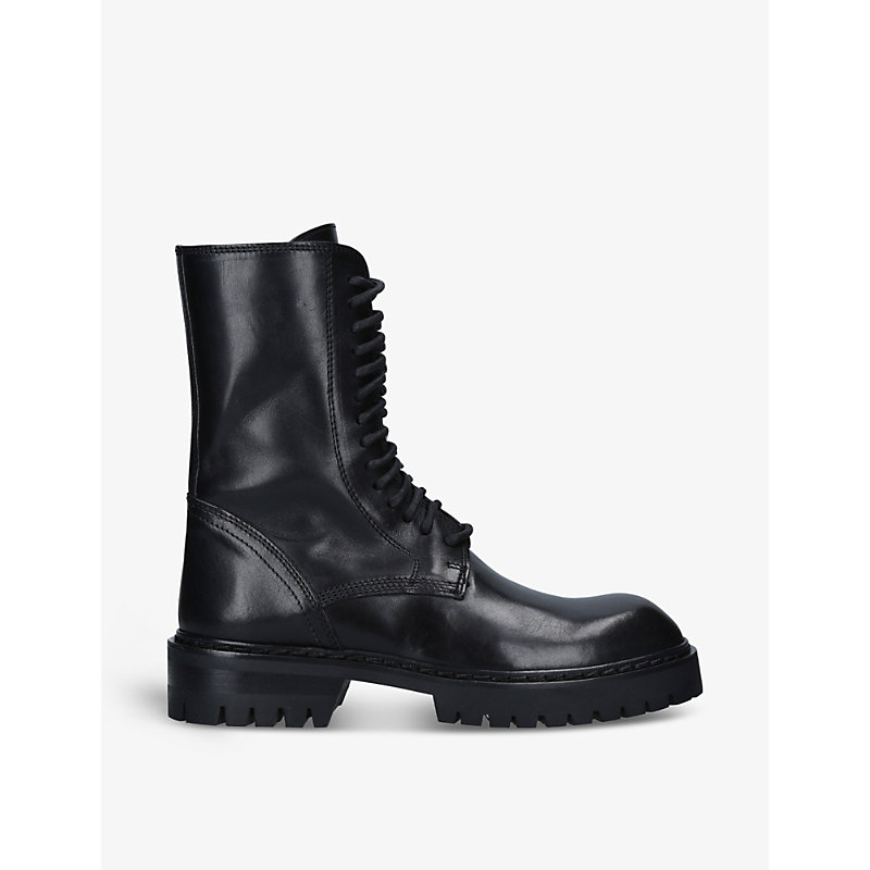 Ann Demeulemeester LEATHER LACE-UP PLATFORM BOOTS