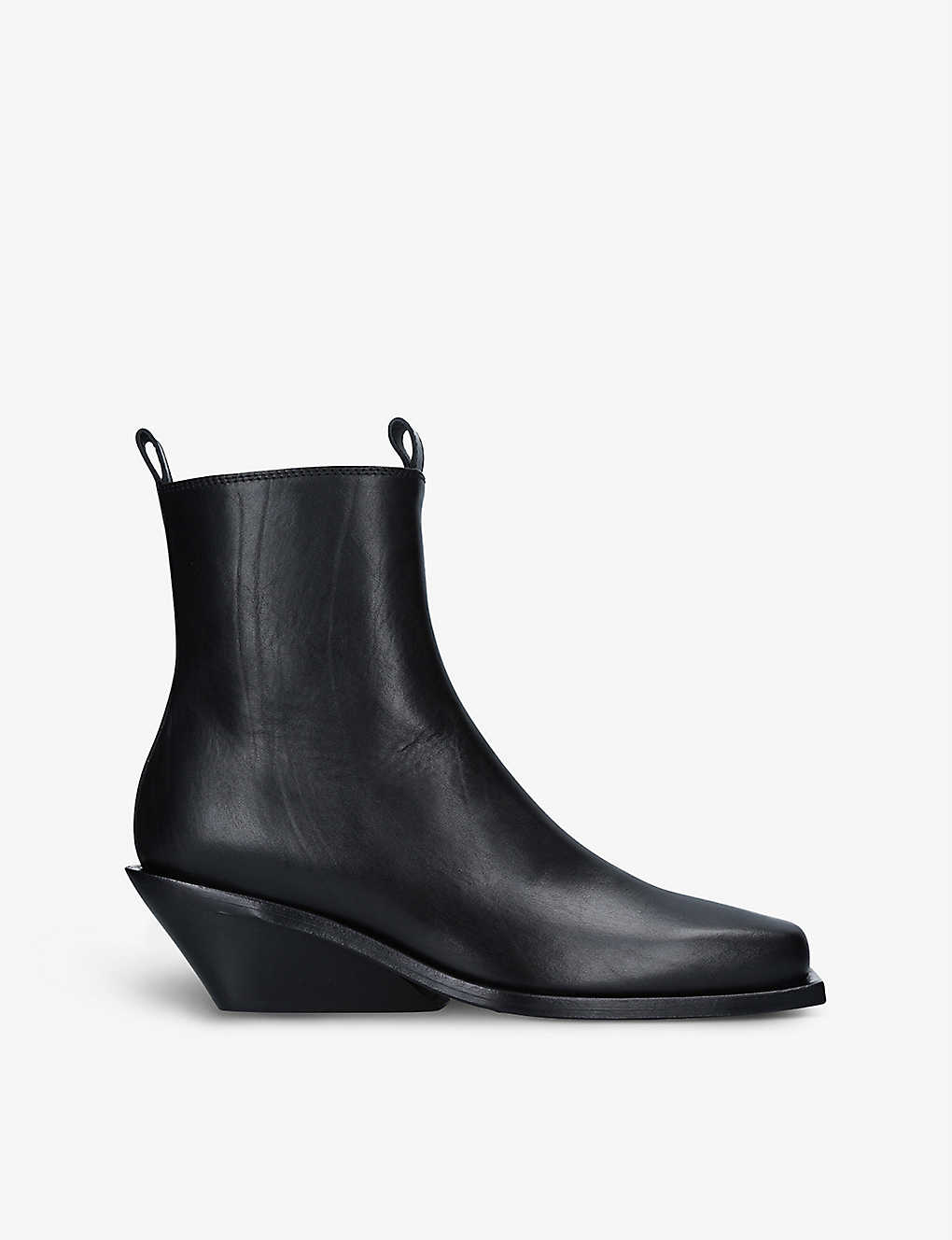 ANN DEMEULEMEESTER: Leather wedged-heel ankle boots