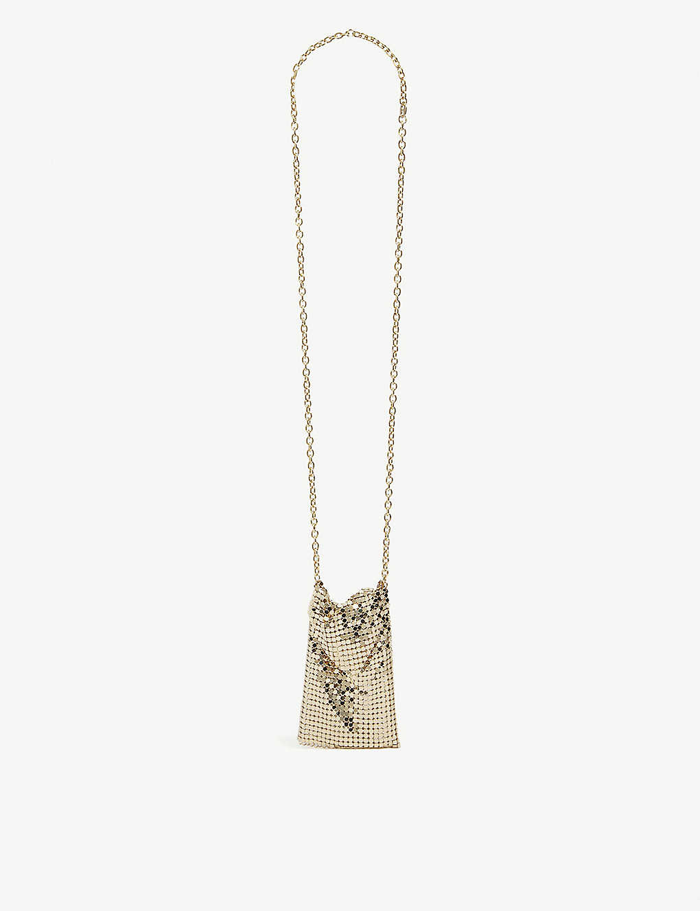 PACO RABANNE: Pixel mini bag brass necklace