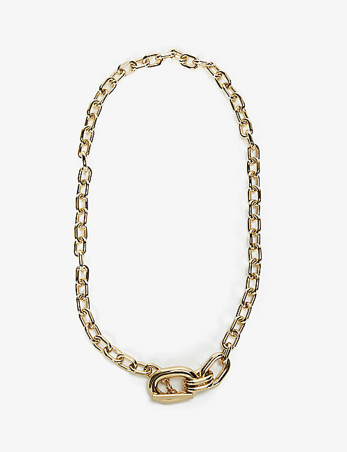 PACO RABANNE: Oversized gold-tone chain necklace