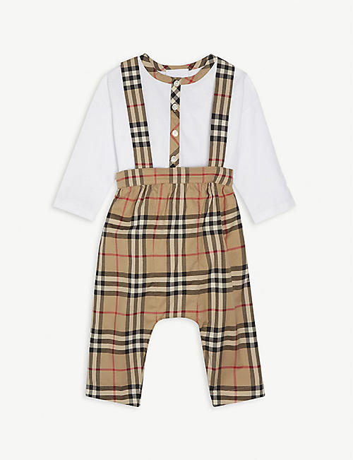 BURBERRY: Bertie cotton baby grow and dungarees set 6-18 months