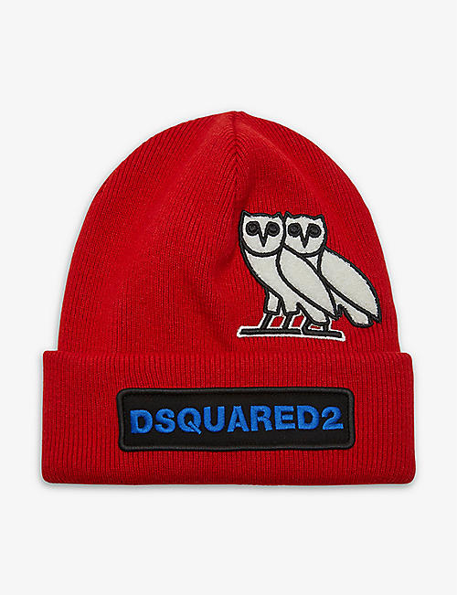 DSQUARED2 ACC: DSquared2 x OVO logo-embroidered wool-knit beanie
