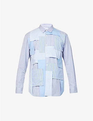 COMME DES GARCONS SHIRT: Patchwork boxy-fit cotton shirt