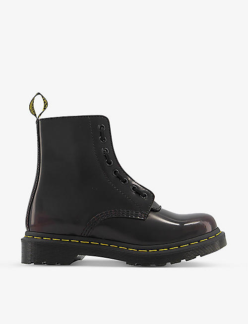 DR. MARTENS: 1460 Pascal front-zip leather ankle boots