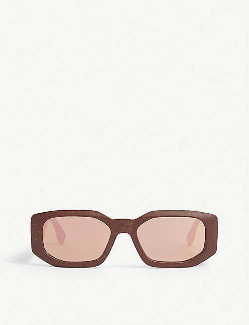 LE SPECS: Grass Half Full octagonal-frame recycled plastic sunglasses