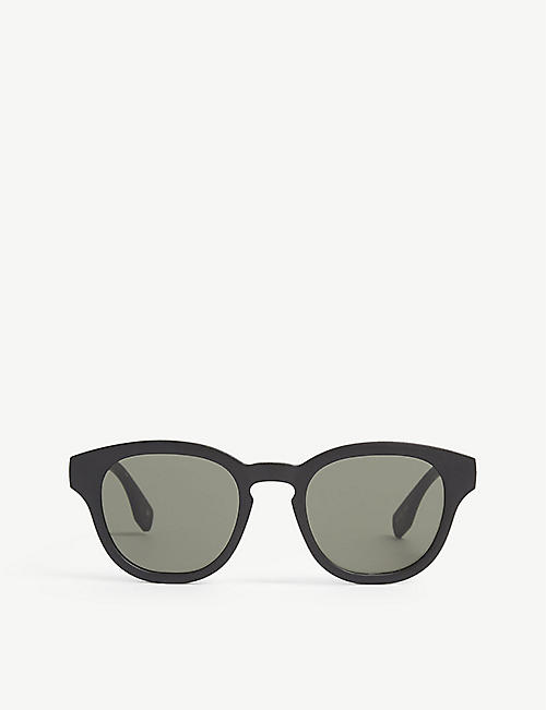 LE SPECS: Grass Band round-frame recycled plastic sunglasses