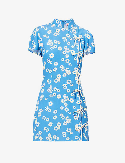 KITRI: Harlow floral-print woven mini dress