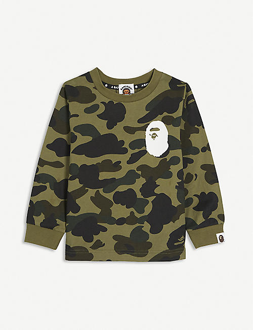 A BATHING APE: College camo-print branded cotton T-shirt 2-16 years