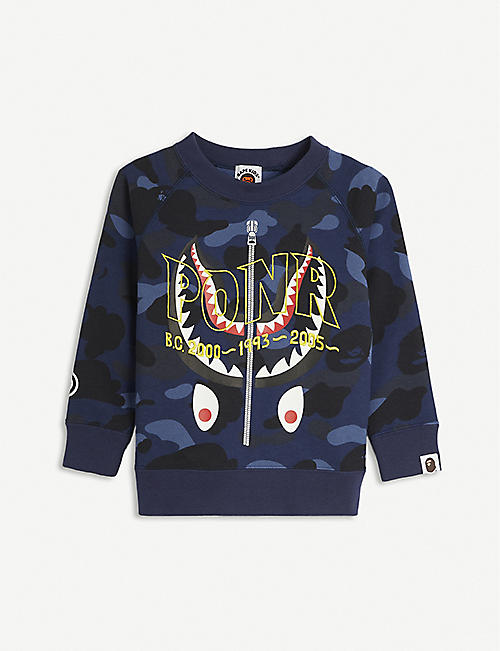 A BATHING APE: Camo Shark camouflage-print cotton jumper 2-16 years
