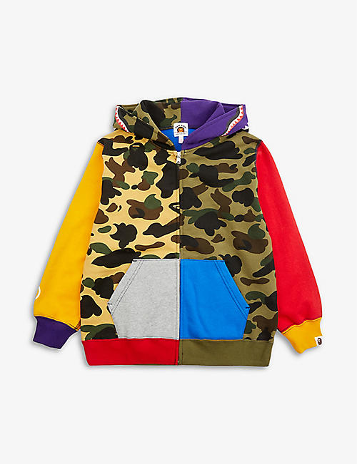 A BATHING APE: Shark-hood camouflage cotton-jersey hoody 2-16 years