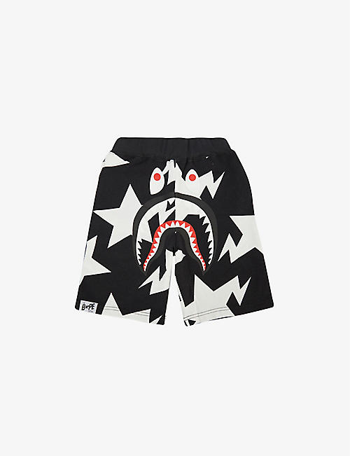 A BATHING APE: Star shark-print cotton shorts 2-9 years