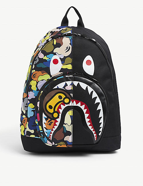 A BATHING APE: Kids Multi Camo Milo Shark Daypack graphic-print woven backpack