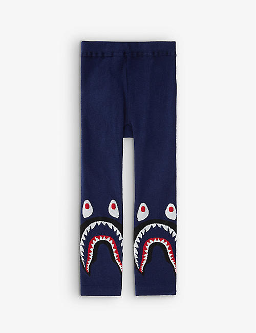 A BATHING APE: Shark-graphic cotton-blend leggings 0-18months