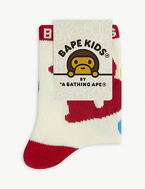 A BATHING APE: Graphic-print cotton-blend ankle socks